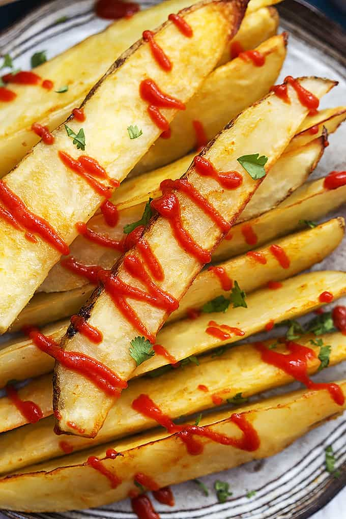 Baked Garlic Sriracha Fries