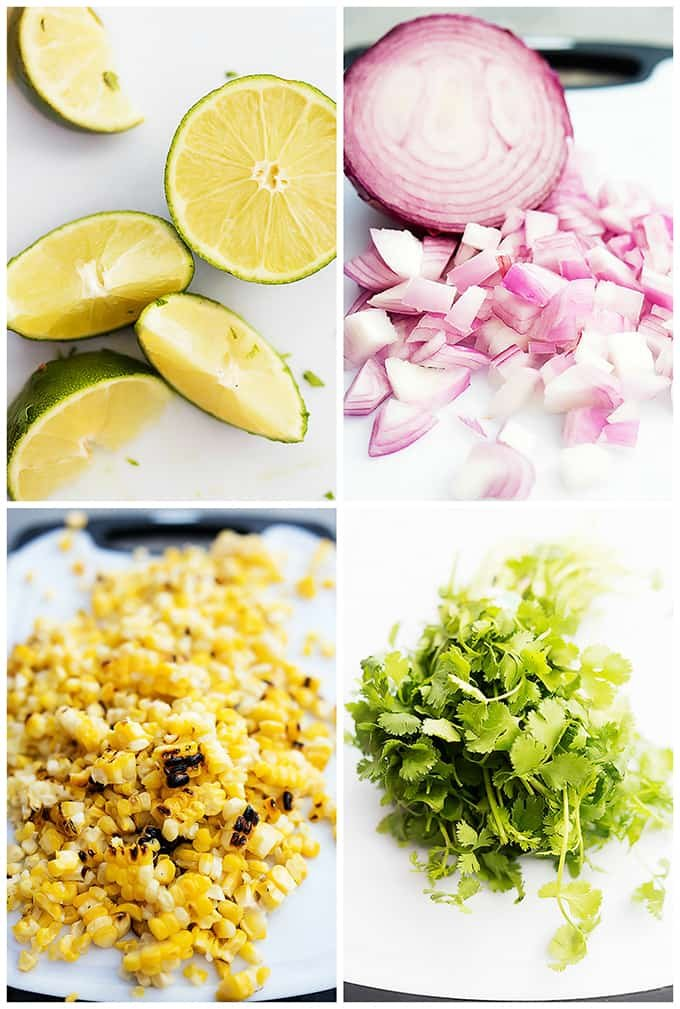a collage of grilled corn salsa ingredients.