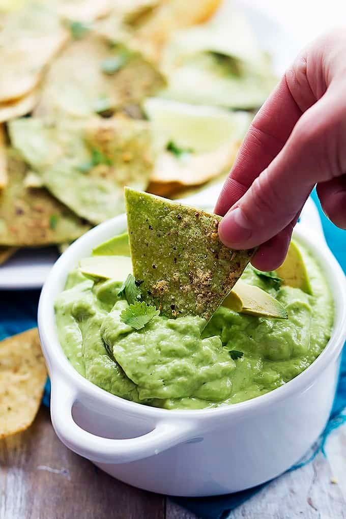 Baked guacamole tortilla chips creme de la crumb for What can i make with tortilla chips