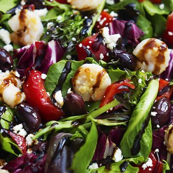 Mediterranean Garlic Shrimp Salad | Creme de la Crumb