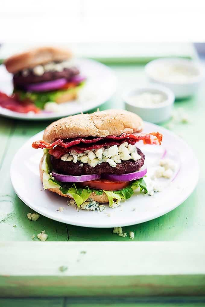 Bacon Blue Cheese Burgers | Creme de la Crumb