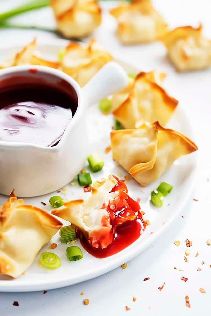 Baked Cream Cheese Wontons (Rangoon) | Creme de la Crumb