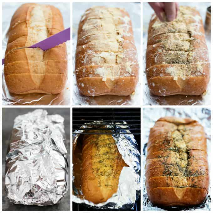 collages of grilled garlic bread being made.
