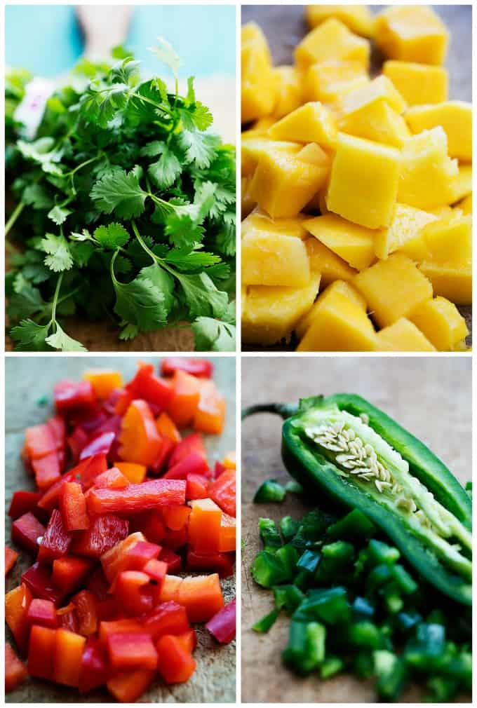 a collage of mango salsa ingredients.