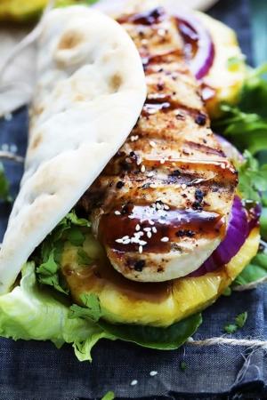 Grilled Pineapple Teriyaki Chicken Wraps | Creme de la Crumb