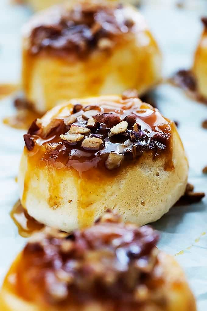 Ooey gooey mini caramel sticky buns made with only 4 ingredients and ...