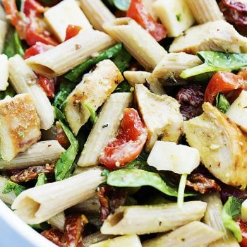 Chicken Penne Salad with Creamy Parmesan Dressing | Creme de la Crumb