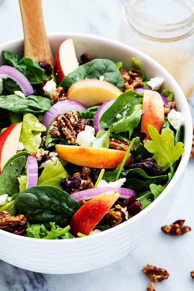 Apple Pecan Salad with Maple Vinaigrette | Creme de la Crumb