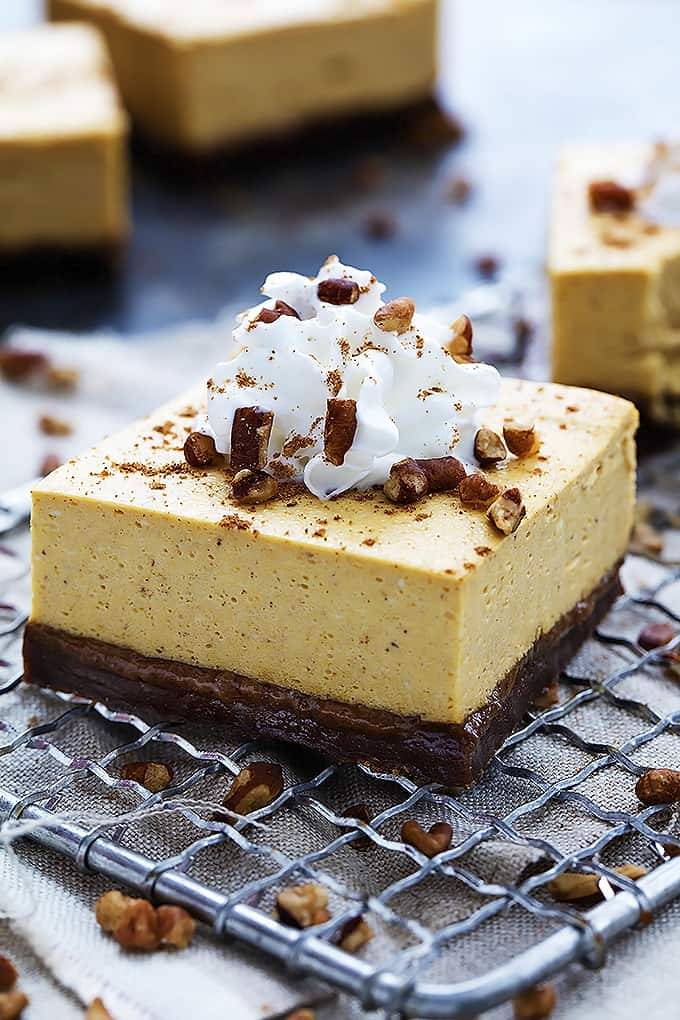 Pumpkin Cheesecake Bars With Gingersnap Crust Creme De La Crumb