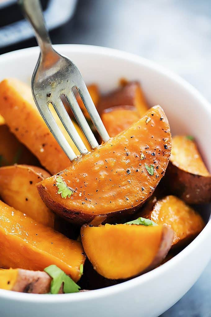 Heavenly maple oven-roasted sweet potatoes are easy to make and go ...