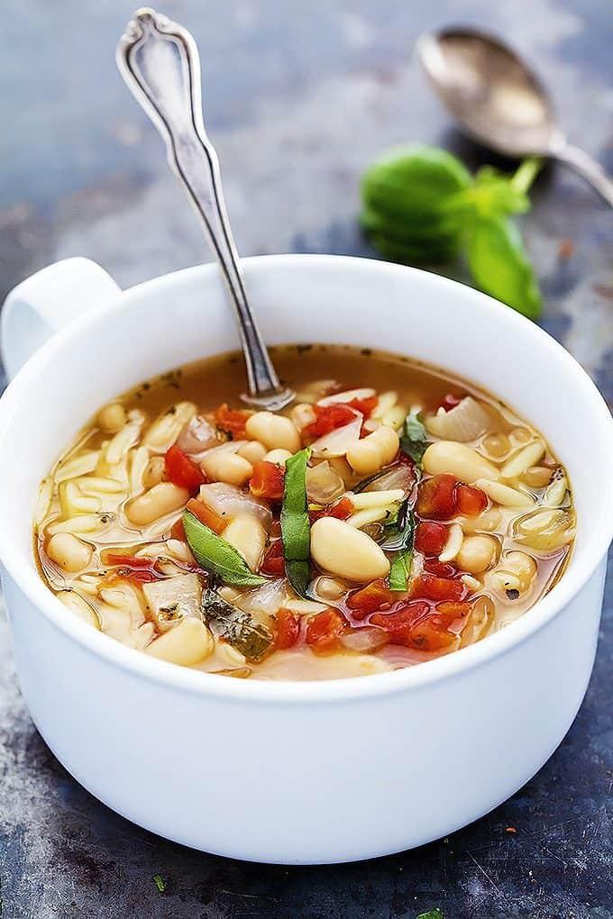 Italian White Bean & Orzo Soup | Creme de la Crumb