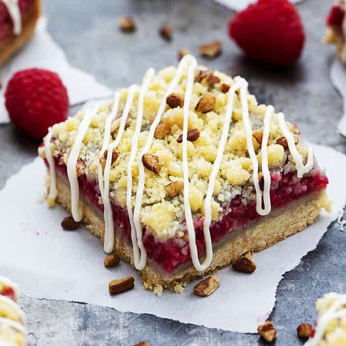 White Chocolate Raspberry Pie Crumb Bars