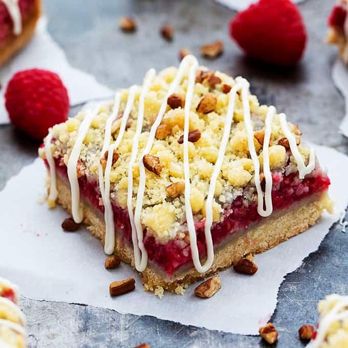White Chocolate Raspberry Pie Crumb Bars