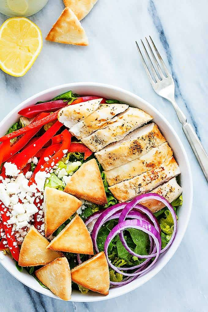 Chicken Gyro Salad with Tzatziki Dressing | Creme de la Crumb