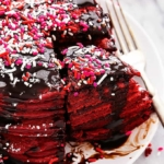 Nutella Stuffed Red Velvet Pancakes