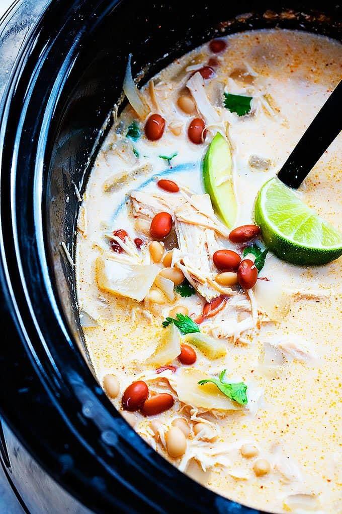 Slow Cooker Cream Cheese Chicken Chili   Creme de la Crumb