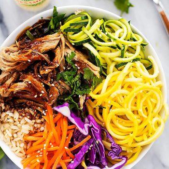 Slow Cooker Luau Pork Rice Bowls | Creme de la Crumb