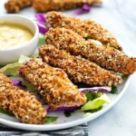 Baked Pretzel Crusted Chicken Tenders (video)