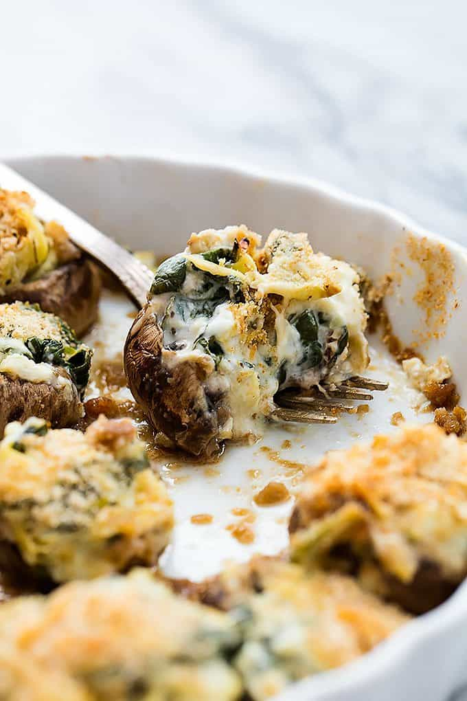 Spinach Artichoke Dip Stuffed Mushrooms (video)   Creme de la Crumb