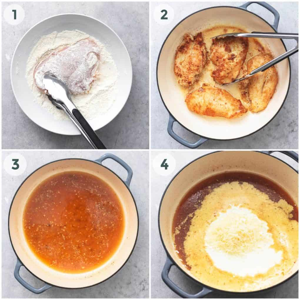 four steps for breading and cooking chicken with sauce in skillet