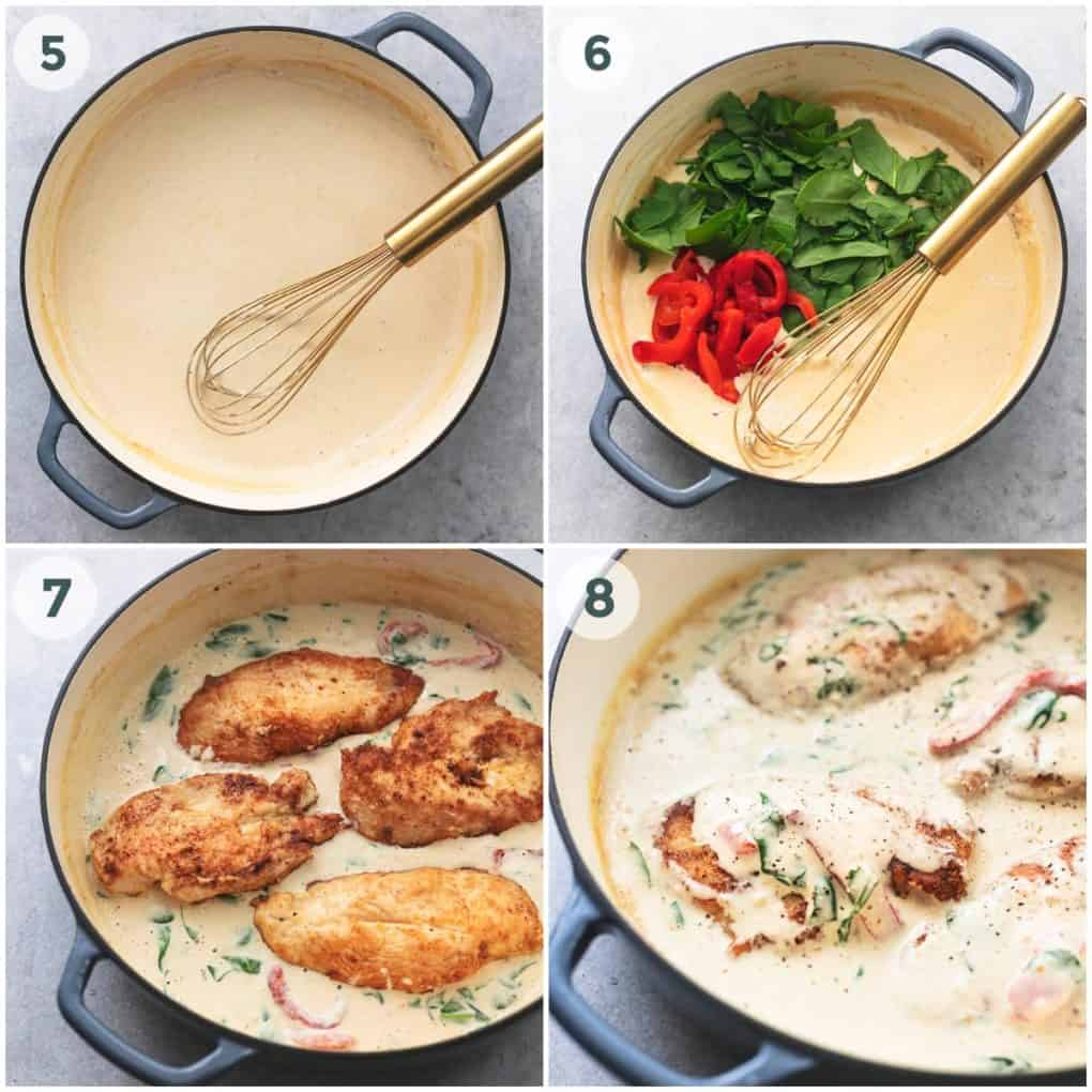 four steps for making tuscan chicken