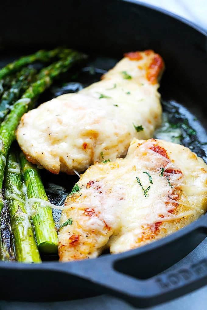One Pan Skillet Garlic Parmesan Chicken & Asparagus