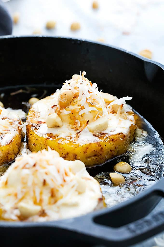 Skillet Caramelized Pineapple Sundaes | Creme de la Crumb
