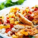 Slow Cooker Pineapple Salsa Chicken | Creme de la Crumb