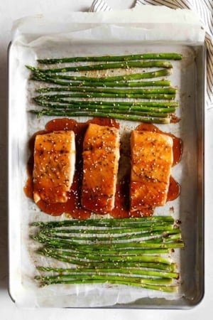Baked Sesame Glazed Salmon and Asparagus