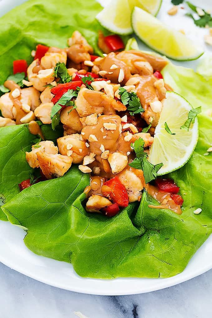 close up of a Thai peanut chicken lettuce wrap.