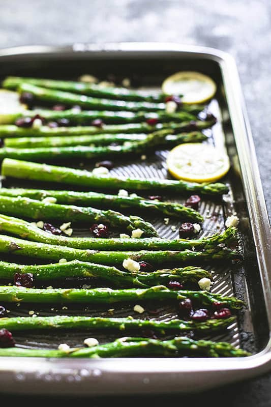 Roasted Lemon Asparagus with Cranberries & Feta