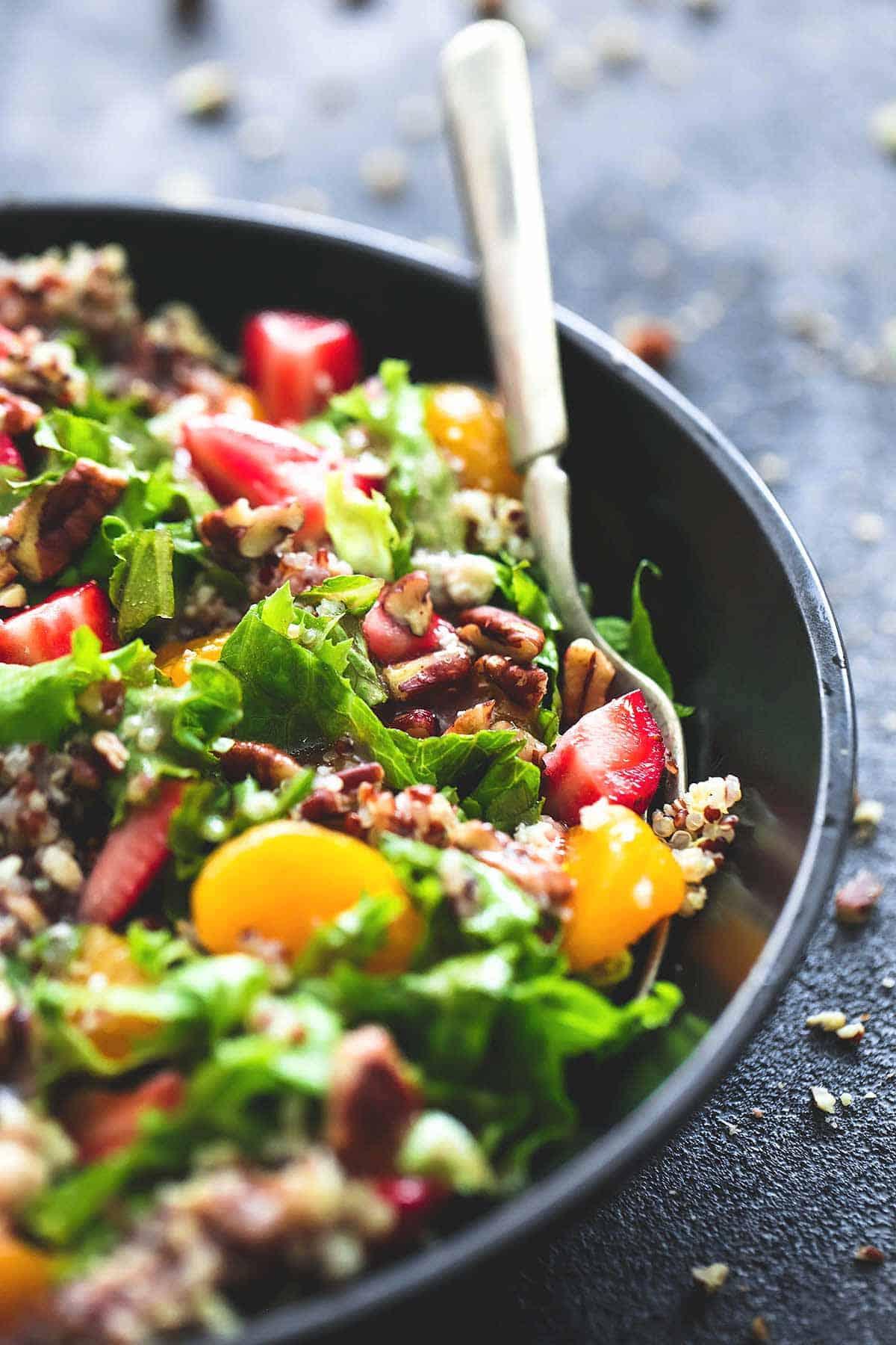 Mandarin Strawberry Quinoa Chopped Salad | Creme De La Crumb