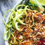 Thai Peanut Chicken & Zucchini Noodle Bowls