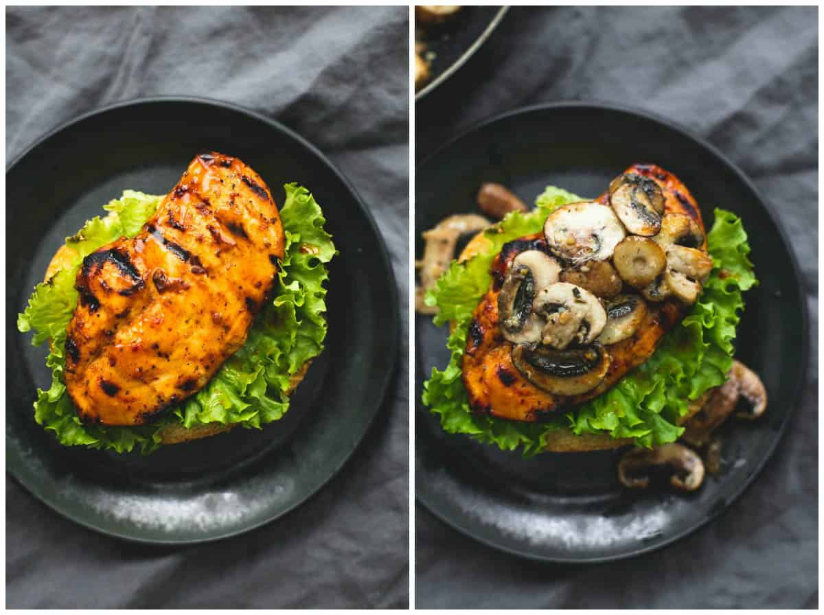 Brown Sugar Bourbon Chicken & Mushroom Melt | lecremedelacrumb.com