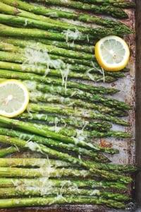 Lemon Parmesan Roasted Asparagus | lecremedelacrumb.com