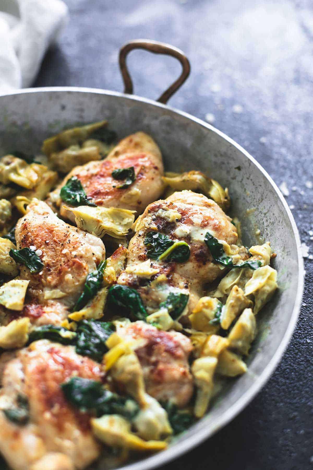 Skillet Spinach Artichoke Chicken | lecremedelacrumb.com