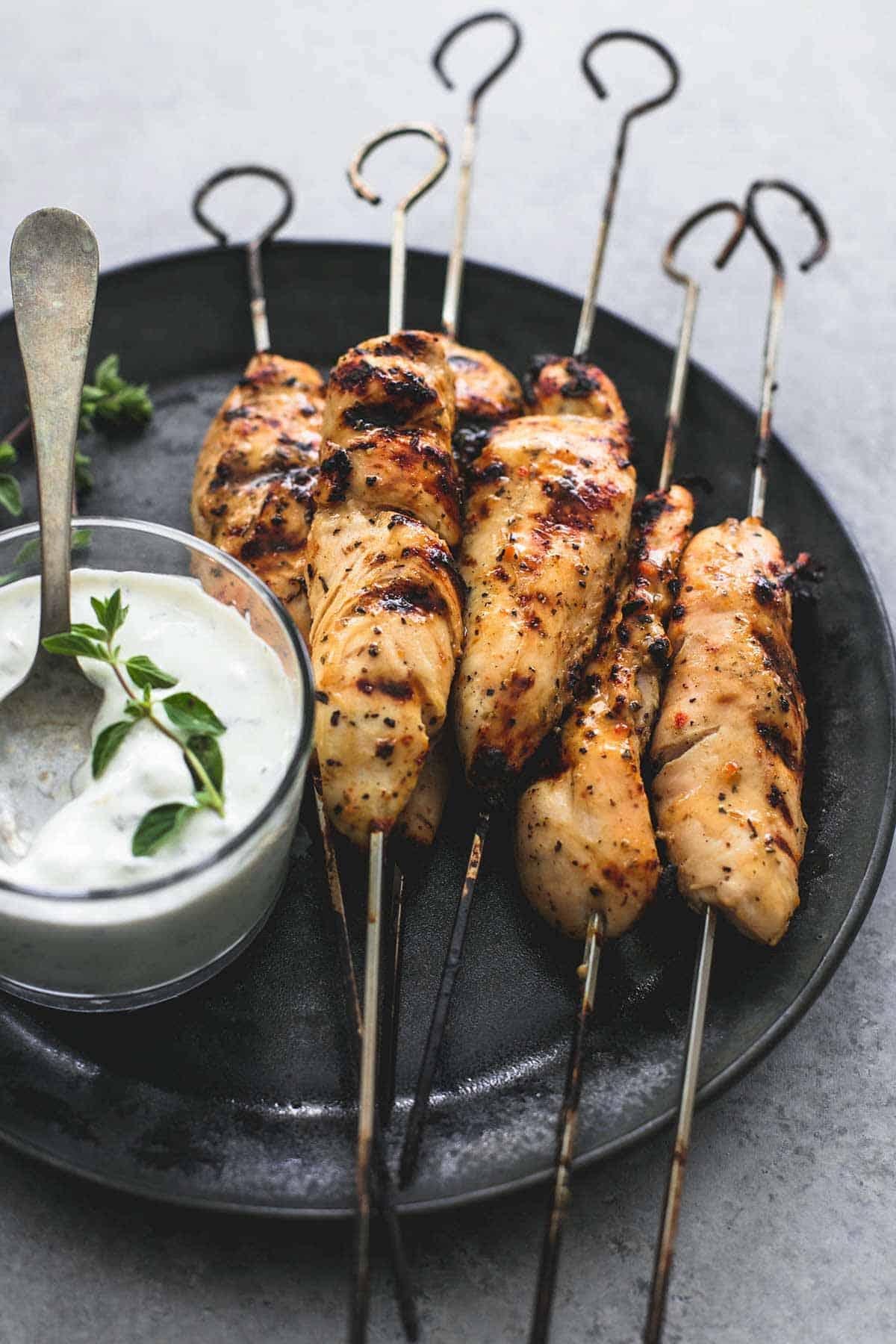 Grilled Chicken Souvlaki & Tzatziki Sauce | lecremedelcrumb.com