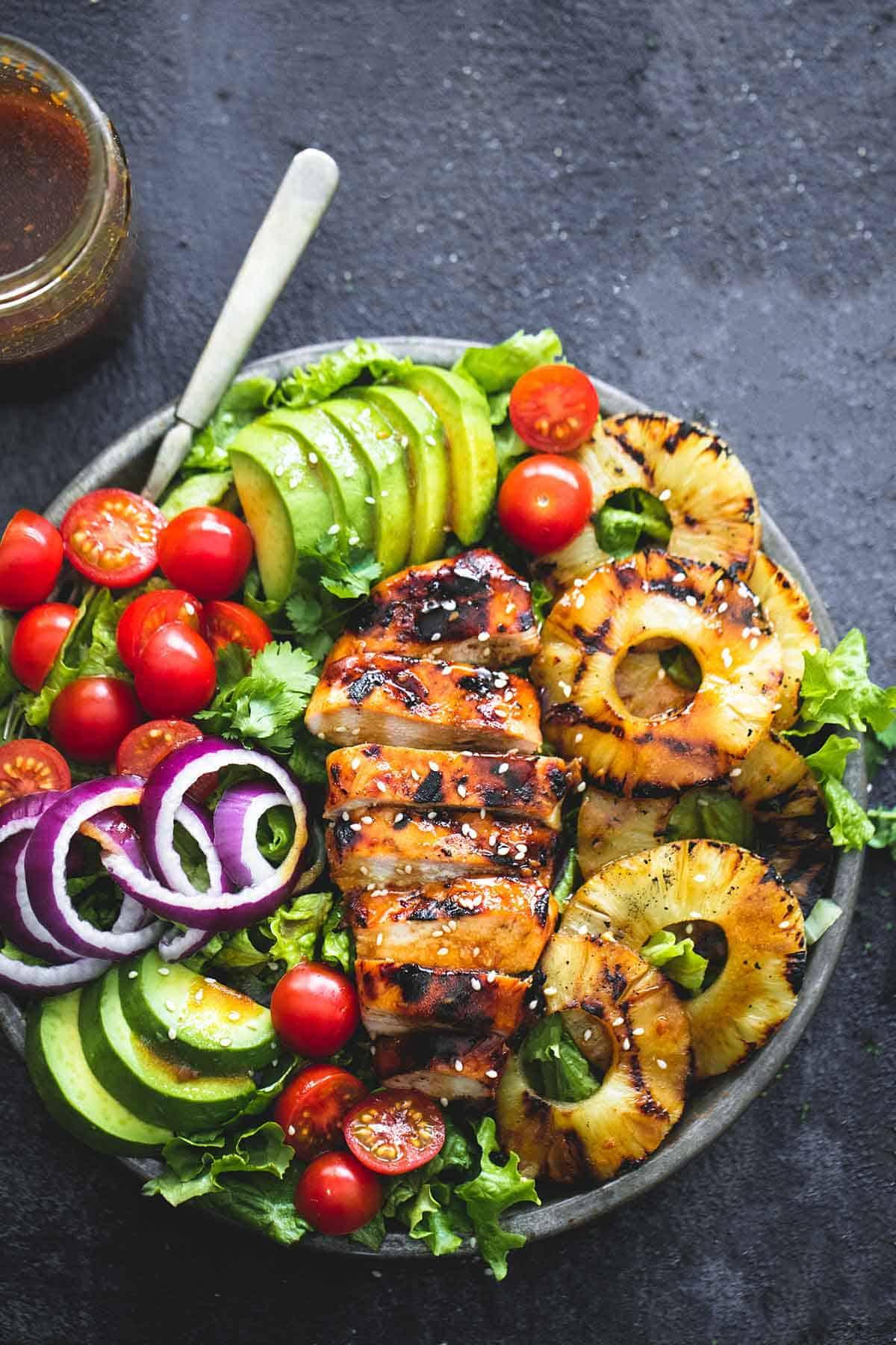 Grilled Teriyaki Chicken Salad   lecremedelacrumb.com