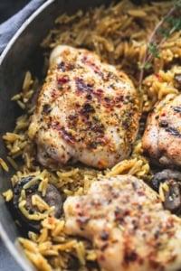 One Pot Mushroom Herb Chicken Orzo | lecremedelacrumb.com