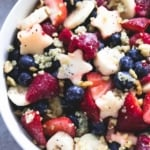 Patriotic Fruit Salad & Honey Lime Poppyseed Dressing | lecremedelacrumb.com
