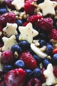 Patriotic Fruit Salad with Honey Lime Dressing | lecremedelacrumb.com