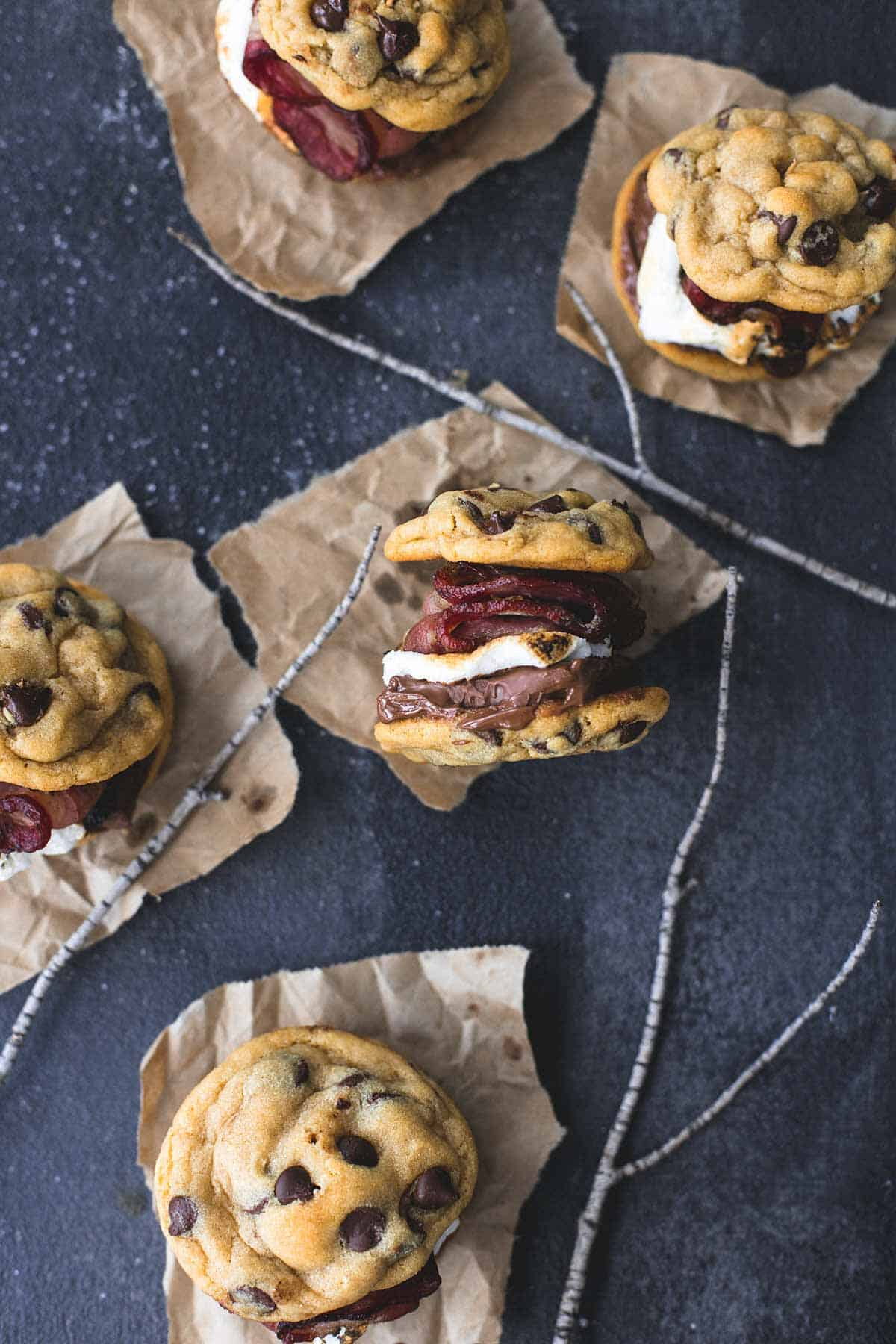 Grilled Chocolate Chip Cookie Bacon S'mores | lecremedelacrumb.com