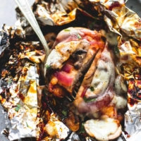 Grilled Smothered BBQ Chicken Foil Packs | lecremedelacrumb.com