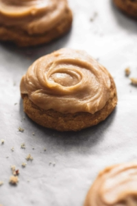 Pumpkin Cookies With Brown Sugar Frosting | lecremedelacrumb.com