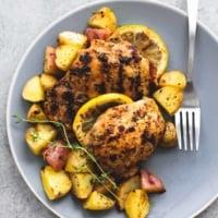Baked Lemon Herb Chicken & Potatoes | lecremedelacrumb.com