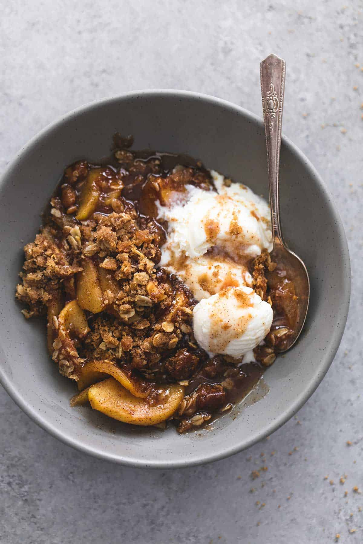 Topping and just a touch of sea salt makes the best easy apple crisp