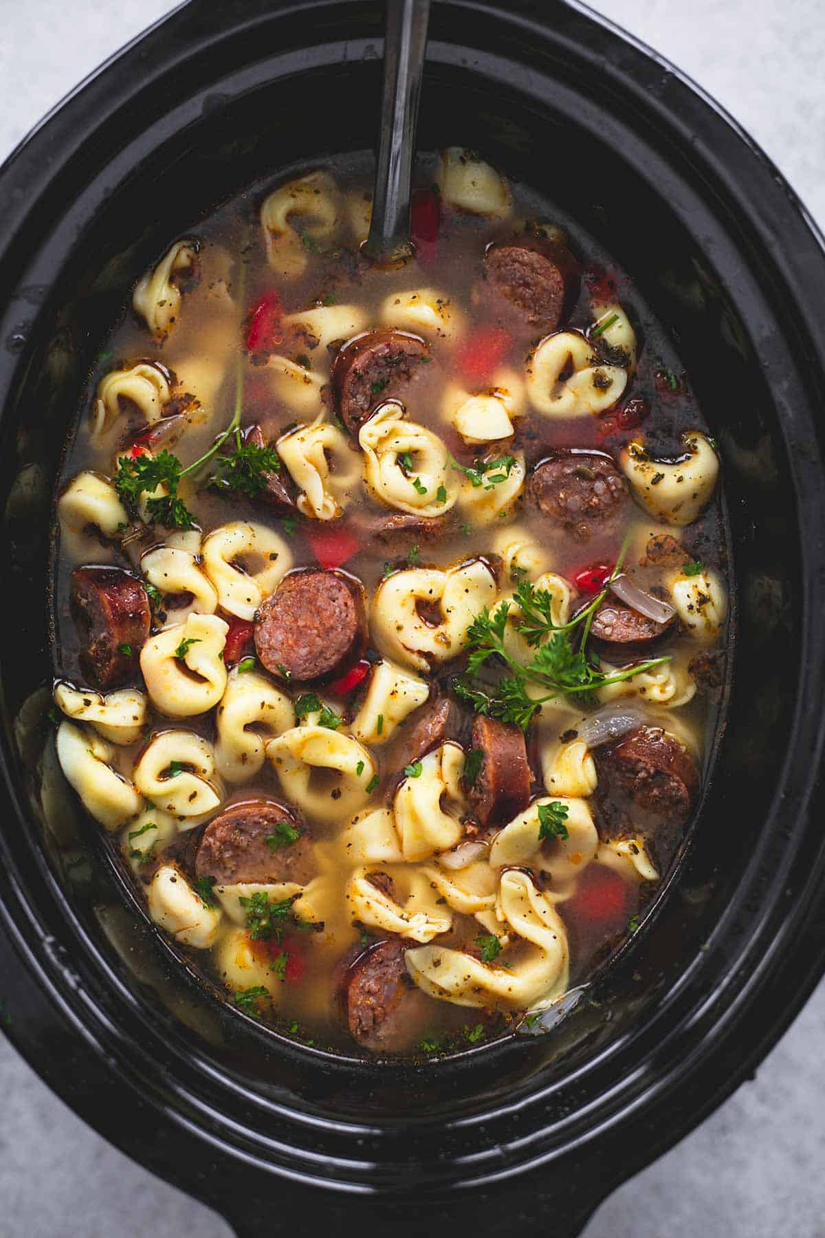 Slow Cooker Italian Sausage Tortellini Soup