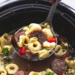 Slow Cooker Italian Sausage Tortellini Soup | lecremedelacrumb.com