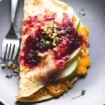 Butternut Squash & Pear Crepes with Cranberry Sauce | lecremedelacrumb.com
