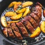 One Pan Brown Sugar Pork & Apples | lecremedelacrumb.com